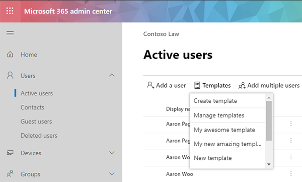 Admin Center User Template
